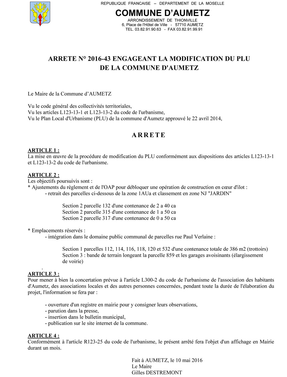 Arrete 2016 43 modification du plu 1