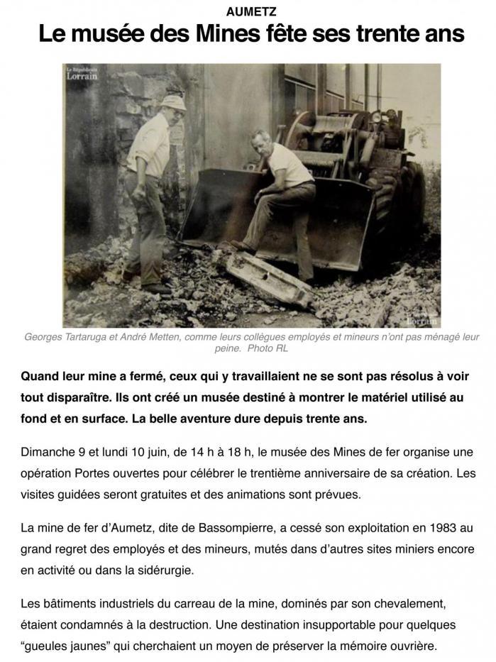 Aumetz muse e des mines 30 ans 16 05 2019 1