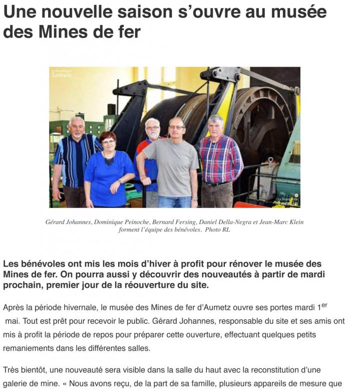 Aumetz nouvelle saison pour le muse e de la mine 24 04 2018 1
